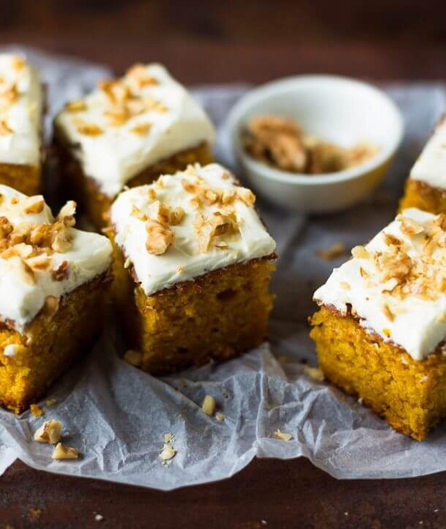 ciasto dyniowe, puree dyniowe, ciasto z kremem, szybkie ciasto, ciasto na niedzielę, ciasto z orzechami, ciasto ucierane, szybki deser, ciasto warzywne, zdrowe ciasto, zdrowe słodycze