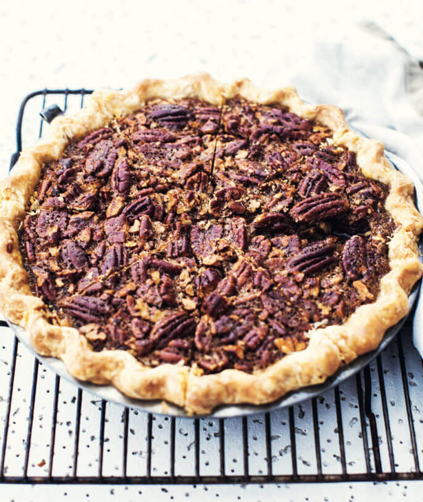 pecan pie, tarta orzechowa, kruche ciasto, krucha tarta, tarta z miodem i orzechami, przepis Monika Walecka, ciasto z orzechami, Amerykański pie, gotujebolubi