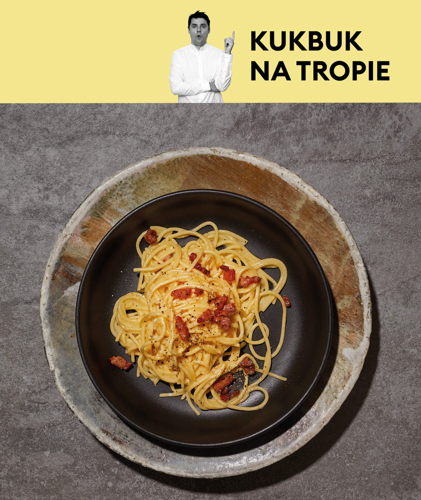 Spaghetti carbonara na talerzu fot. Maciej Niemojewski