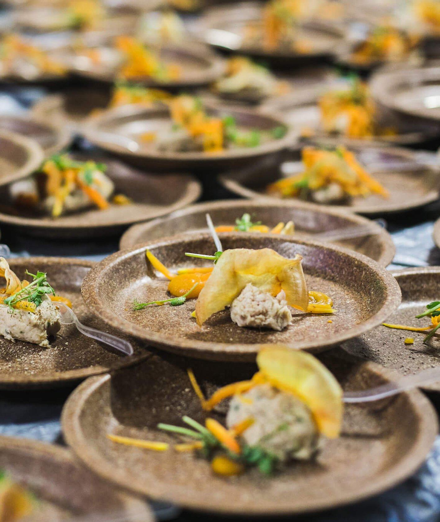 Filety z kremem z marchewki podane na talerzach ekologicznych